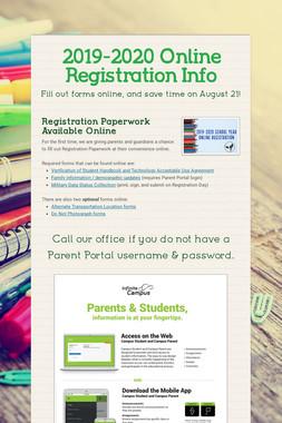 2019-2020 Online Registration Info