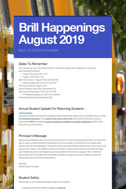 Brill Happenings August 2019