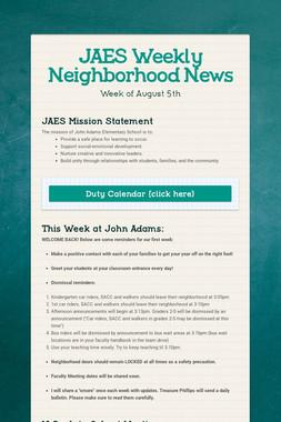 JAES Weekly Neighborhood News