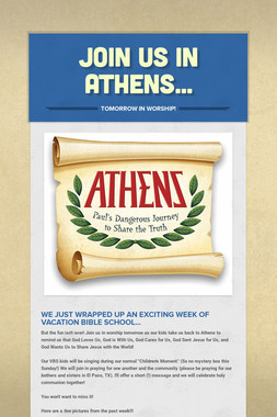 Join us in Athens...