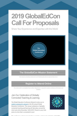 2019 GlobalEdCon Call For Proposals
