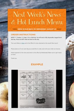 Next Week's News & Hot Lunch Menu