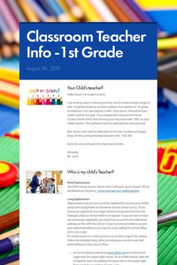 Classroom Teacher Info -1st Grade