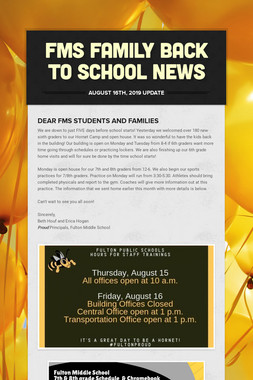 FMS Family Back to School News