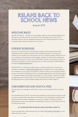 RSLAHS BACK TO SCHOOL NEWS