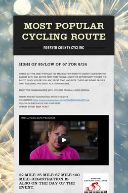 MOST POPULAR CYCLING ROUTE