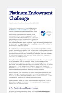 Platinum Endowment Challenge