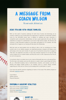 A Message from Coach Wilson