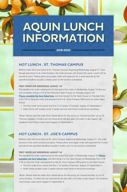 Aquin Lunch Information
