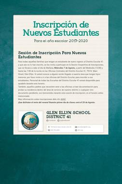 Inscripción de Nuevos Estudiantes