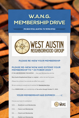 W.A.N.G. Membership Drive