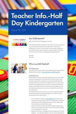 Teacher Info.-Half Day Kindergarten