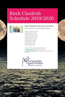 Rosh Chodesh Schedule 2019/2020