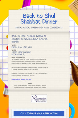 Back to Shul Shabbat Dinner