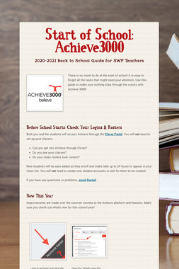 Start of School: Achieve3000