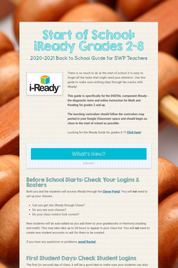 Start of School: iReady Grades 2-9
