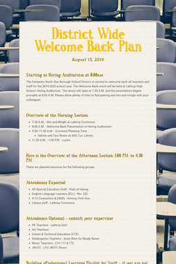 District Wide Welcome Back Plan