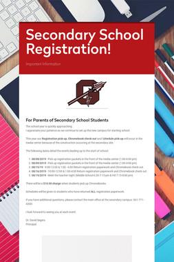 Secondary School Registration!