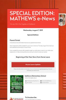 SPECIAL EDITION: MATHEWS e-News