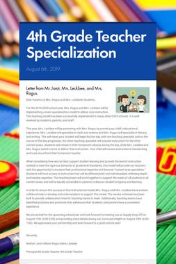 4th Grade Teacher Specialization