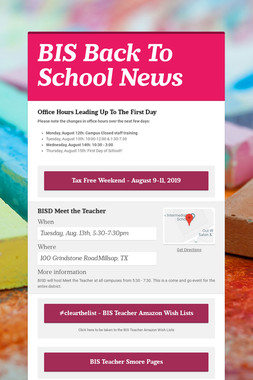 BIS Back To School News