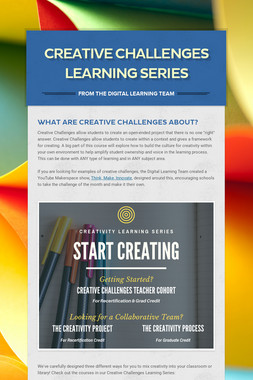 Creative Challenges Learning Series