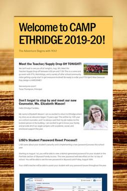 Welcome to CAMP ETHRIDGE 2019-20!