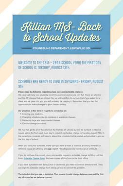 Killian MS- Back to School Updates