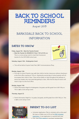 BACK TO SCHOOL REMINDERS