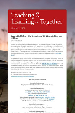 Teaching & Learning ~ Together