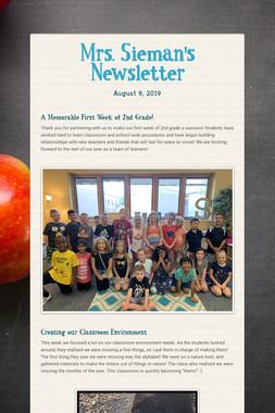 Mrs. Sieman's Newsletter