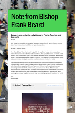 Note from Bishop Frank Beard