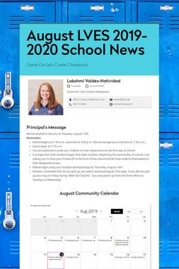 August LVES 2019-2020 School News