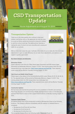 CSD Transportation Update