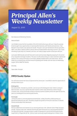 Principal Allen's Weekly Newsletter