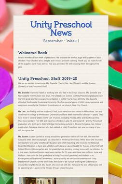 Unity Preschool News