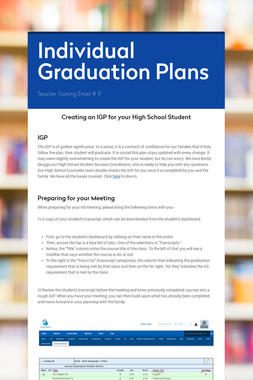 Individual Graduation Plans
