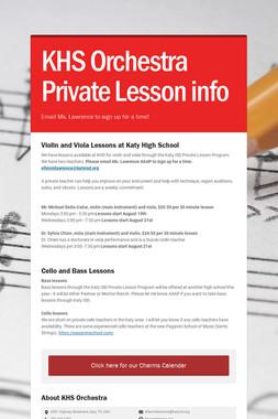 KHS Orchestra Private Lesson info