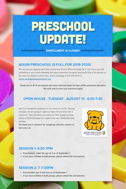 Preschool Update!