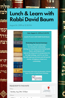 Lunch & Learn with Rabbi David Baum