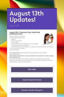August 13th Updates!