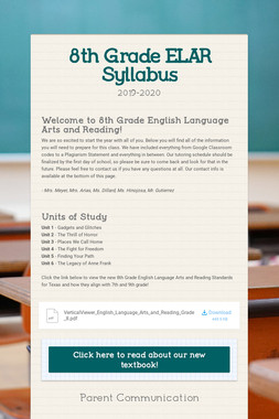 8th Grade ELAR Syllabus