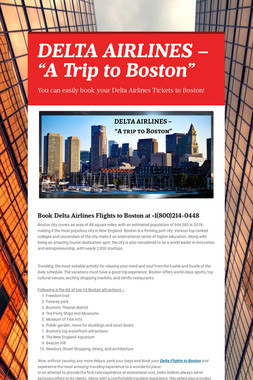 "DELTA AIRLINES – ""A Trip to Boston"""