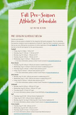 Fall Pre-Season Athletic Schedule
