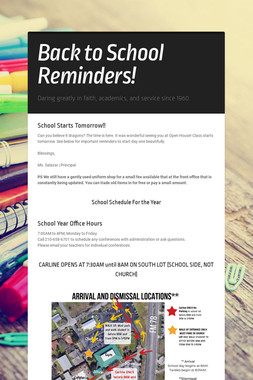 Back to School Reminders!