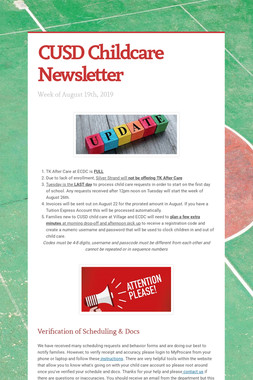 CUSD Childcare Newsletter