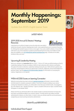 Monthly Happenings: September 2019