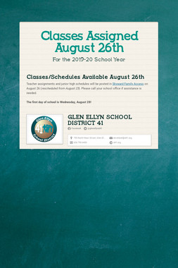 Classes Assigned August 26th