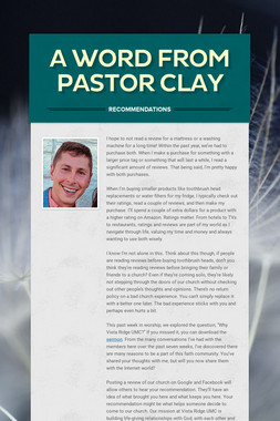 A Word from Pastor Clay