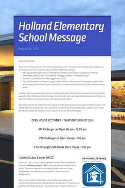 Holland Elementary School Message